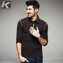 Autumn Mens Fashion Polo Shirts Patchwork Color Brown Brand Clothing Man's Wear Long Sleeve Slim Fit Clothes Tees Tops