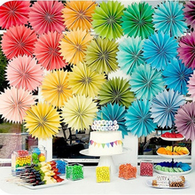 Cheap Wedding Decoration15cm 5pcs/Lot Paper Fan Wedding Tissue Paper Fans Flowers Birthday Party Holiday Supplies Wedding Favors