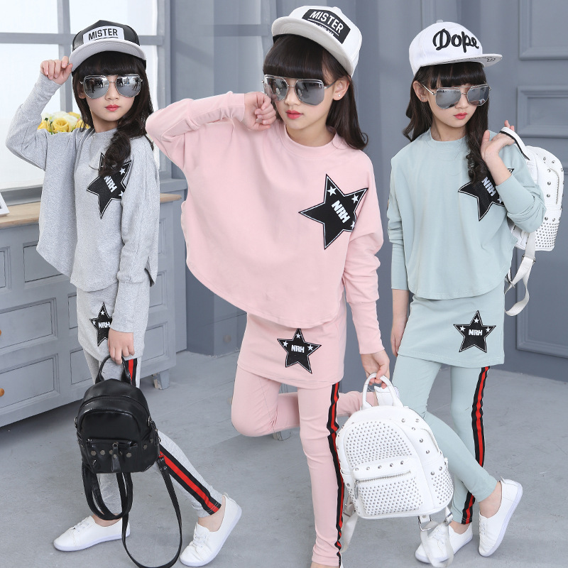 2017 Autumn childrens suit  clothing bat sleeves T-shirt + skirt pants 2 sets of childrens leisure two sets of 5-14 Y 6<br>