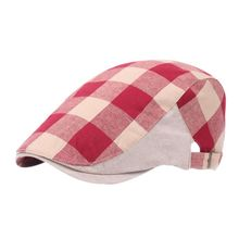 Vintage Plaid Summer Sun Hats for Men Women High Quality Casual Cotton Women Golf Caps(China)
