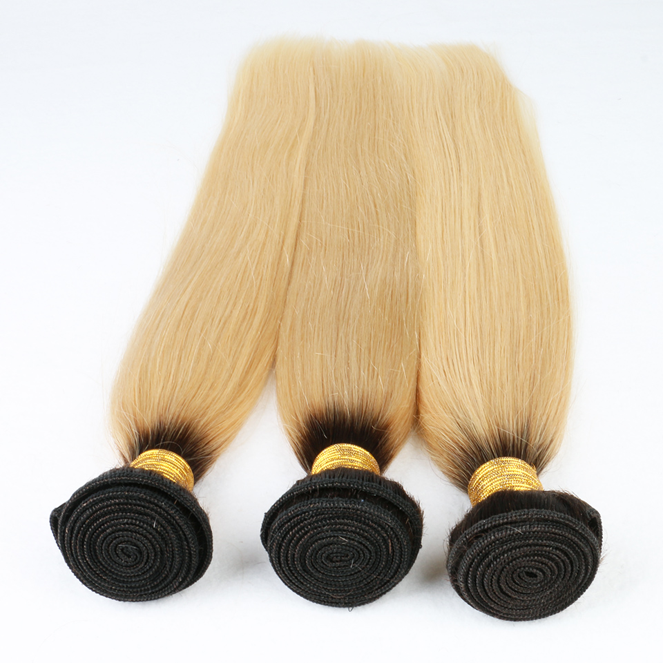 8A Brazilian Ombre Hair Bundles 1B 613 Brazilian Virgin Hair Extensions Ombre 1B/Blond Color Straight 3pcs Lot Free Shipping<br><br>Aliexpress