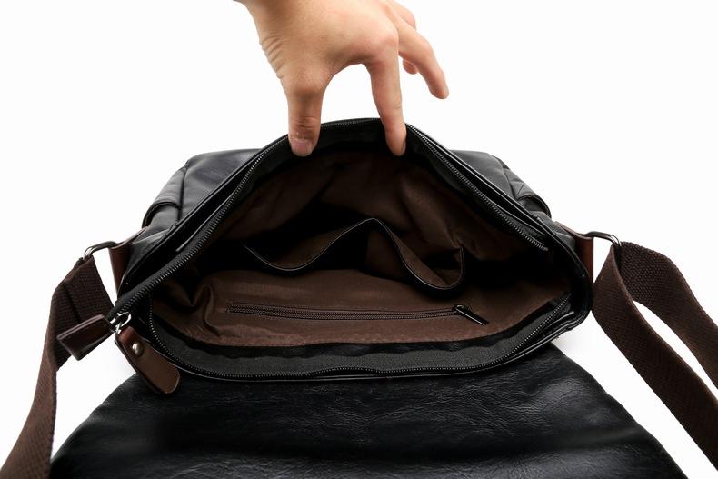 MJ Men\`s Bags Vintage PU Leather Male Messenger Bag High Quality Leather Crossbody Flap Bag Versatile Shoulder Handbag for Men (30)