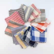 Sunny Color Hankerchief Scarves Vintage Cotton Hankies Men's Plaid Pocket Square Handkerchiefs(China)
