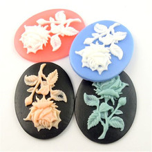 12PCS Mixed Color Resin Oval Rose Flower Cabochon Cameo Finding 40*30*7MM 09750(China)