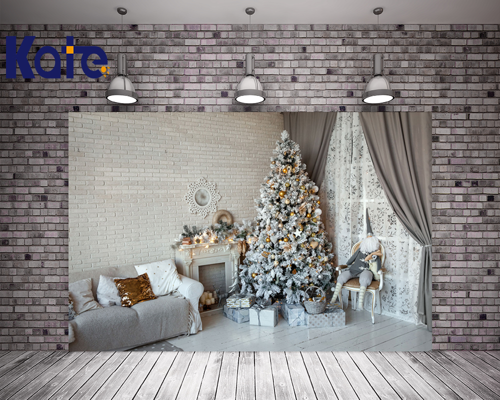 Kate Christmas Photography Backgrounds White Wood Floor Fireplace Photo Background Christmas Tree Brick Wall For Family Backdrop<br>