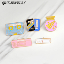 QIHE JEWELRY Brooches & pins Pink radio 1% battery pizza ball magnetic tape Cartoon badge brooches young girls Jewelry