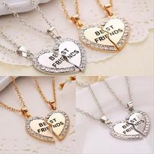 New 1 Pair Women Fashion Charming Splice Heart Pendant Best Friend Letter Necklace Gifts Women Jewelry 2 Colors(China)