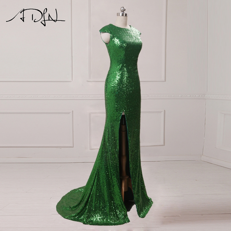 ADLN Sparkly Sequined Mermaid Evening Dresses With Slit Cap Sleeve Green Long Prom Dresses 2017 Sexy Party Gowns 6