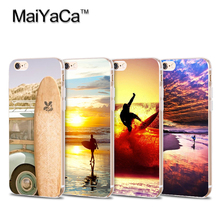 On Sale Surfboard and Surfing sunset Cool  Soft Transparent TPU Phone Case Accessories Cover For iPhone 5s 6s 7 plus case
