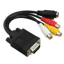 High Performance VGA to S-Video 3 RCA Composite AV TV Out Adapter Converter Cable for PC Laptop