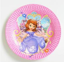 10pcs/bag Sofia Princess Party Supplies Plates Cartoon Theme Party For Kids Happy Birthday Decoration Theme Party Supplies