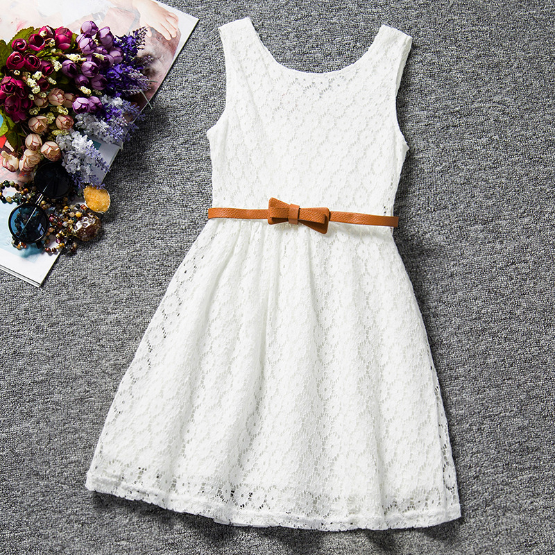 [clearance sale] Summer Lace Vest Girls Dress Baby Girl Princess Dress Children Clothes Kids Party Clothing For Girls Free Belt(China (Mainland))