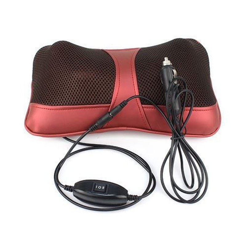 Multifunction Car Shoulder Neck Shiatsu Massager Pillow Infrared heating Vibrating Massage Cushion Headrest With<br>