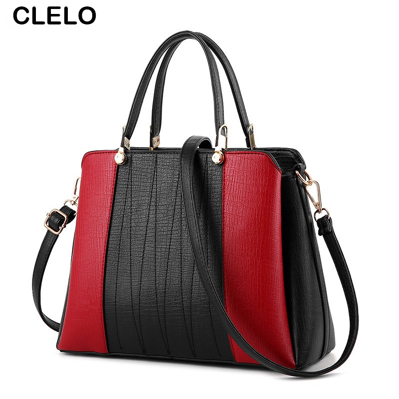 CLELO Brand Women Bag Fashion Hit Color Patchwork Designer Women Handbag High Quality PU High Capacity  Women Messenger Bags<br>
