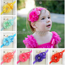 Shabby chic headband  16colors u choose shabby chiffon flower with rhinestone buttons headband