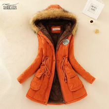 Hot Sale Solid Women Coats New Fashion Hooded Women Jackets Wild Plus velvet Long Winter Warm Casual Jacket FTJK142
