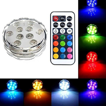 Multi Color 10 LED RGB Light Party Vase Decor Underwater Remote Control Lamp Store 48