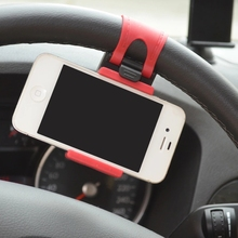 Latest Mobile Phone Holder For Smart Phone GPS MP4 PDA Elastic Design Universal Car Steering Wheel Mobile Phone Holder Stand