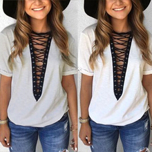 Buy Fashion Lady T-Shirt Women Top Tees Short Sleeve Bandage T Shirt Womens Clothing V Neck Casual Tshirt Summer Tops Blusa Plus for $6.67 in AliExpress store