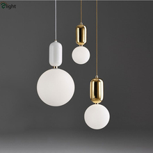 Creative Nordic Parachilna ABALLS Led Pendant Light Plate Metal Milky Frosted Glass Shades Suspension Lamp For Dining Room