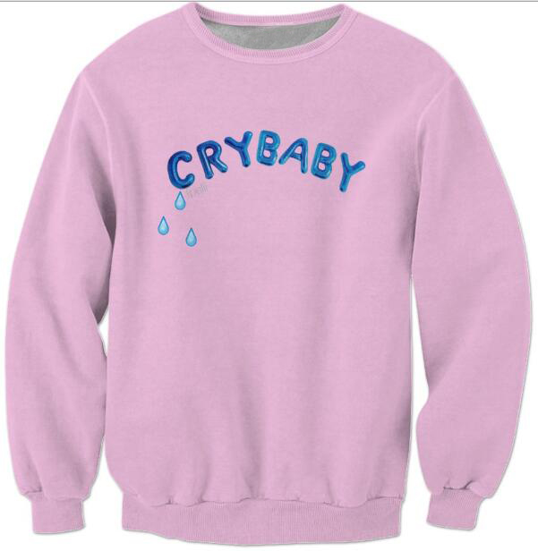 Melanie Martinez Sweatshirt Pink Crewneck Women/Men Crybaby Blue Letter Hoodies Fashion Clothing Jersey Outfits(China (Mainland))