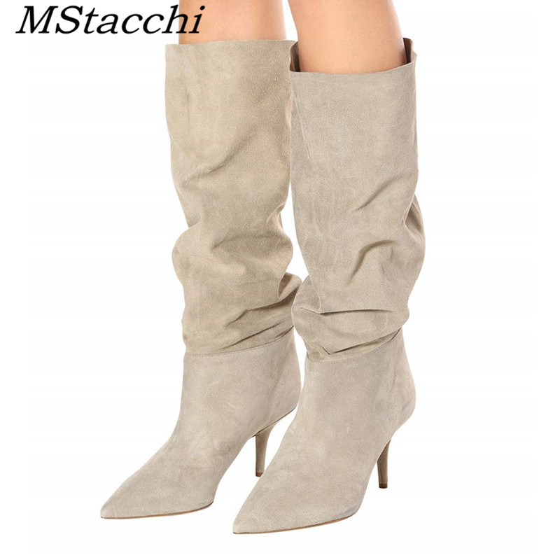 MStacchi European And American Autumn Winter Model Catwalk Show Fold Serpentine Slip-On Knee Boots Pointed Toe Thin Heels Boots