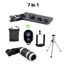 Universal 7in1 8x Zoom Camera Telephoto Telescope Lens Mobile Phone Holder 3in1 Lens Fisheye Lenses Bluetooth Shutter For iphone
