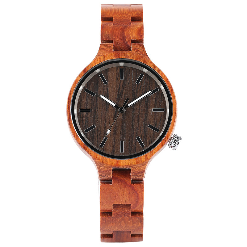 Luxury Casual Dress Handmade Creative Ladies Wood Quartz Wrist Watch Bamboo/Sandalwood Slim Bracelet Modern Full Wooden Gift<br>