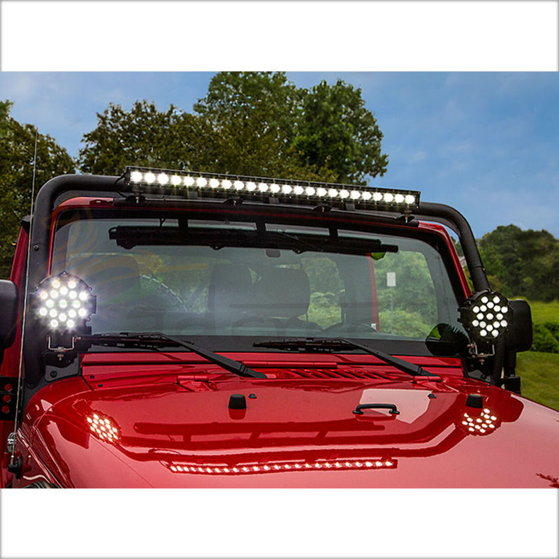 51W 7 Red Black Spot Flood Round Led Work Light Off Road Fog Driving Roof Bumper for SUV Boat Marine Mining Auto Car Truck<br>