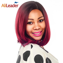 AliLeader Machine Made Heat Resistant Synthetic Wig Short Silky Straight Bob Hair Style Ombre Two Tone Green Dark Gray Afro Wigs(China)