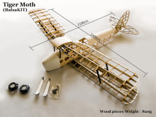 De Havilland DH82a Tiger Moth Biplane 1400mm Laser Cut Balsa Kit  ( For Gas Power and Electric Power) Woodiness model /WOOD PLAN