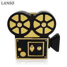 LANSO Personality Vintage Funny Video Recorder Acrylic Evening Bags Unique Design Women Handbags Party Purse Clutch Bag(China)