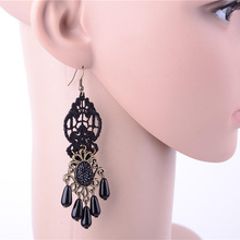 Ladies Gothic Pearl Drop Earrings Long Tassel Black Lace Earring Big Hollow Dangle Statement Eardrop Women Fashion Jewelry(China)