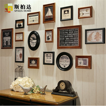 16Pcs/set American Classic Round Picture Frames Fashion Square Wall Brown Photo Frame Set Wedding Wooden Photo Frame for Picture(China)