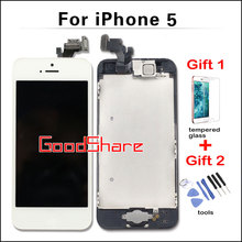 100% Test AAA Quality For iPhone 5 lcd Display & Touch Screen Digitizer Full Assembly complete Set +Home Button+Front Camera