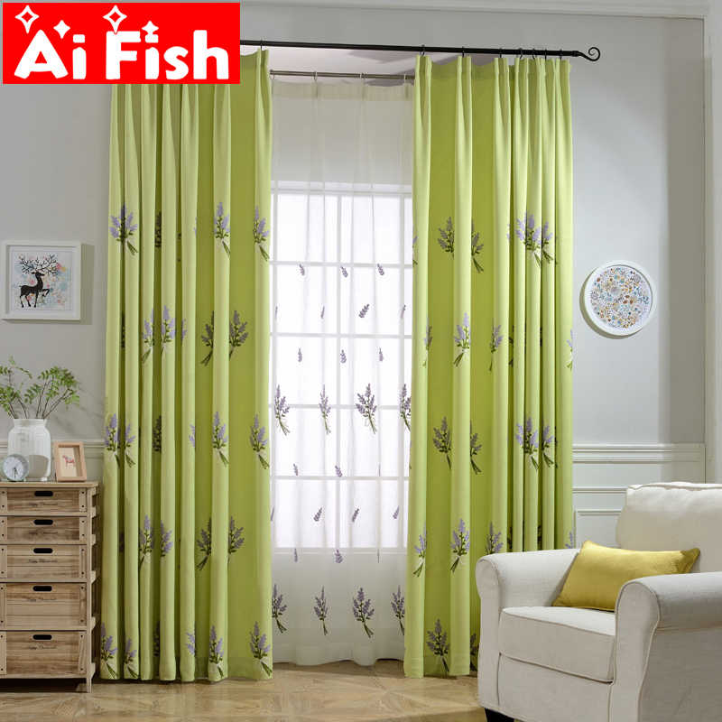 Home Textile Green Lavender Pastoral Embroidery Shade Cartoon Kids Shading Curtain For Bedroom Living Room Custom DF092-30