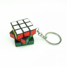 wholesale 10pcs/lot Puzzle Cube KeyChain Magic Cube keyring Educational Decompression Cube Puzzle Toy for Children Gift