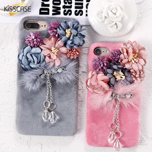 KISSCASE Rhinestone Pendent Case For iPhone 7 Plus Flower Plush Mink Fur Cases For iPhone 7 Plus 6 6S Plus Hard Furry Cover Capa