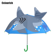 Deep-sea Shark Cartoon Patterns Umbrellas Kids Boys Girls Umbrellla For Children Paraguas Parasol Fashion Umbrella-019(China)