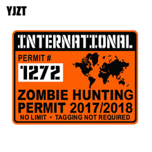YJZT 20x15cm Funny International ZOMBIE Hunting Permit Waterproof Retro-reflective Decal Car Sticker C1-8034(China)