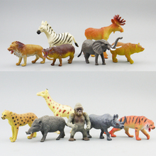 Simulation pvc  figure Wild animal toy model  giraffe lion suitl toy model gift  12pcs/set