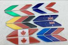 5 pairs Aluminum National Flags Car-styling China England USA Germany France Italy Japan Australia Canada Flag Car Side Sticker