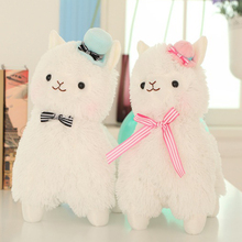 1pcs 35cm/45cm Arpakasso Alpacasso Kawaii Alpaca Plush Toys Doll With Topper Hat Bow Soft Sheep Stuffed Toys 3 Colors