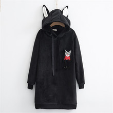 Hoodies Women Harajuku Cat Embroidery Pocket Cotton Long Sudaderas Mujer Velvet Ears Hooded Women Pullover Casual Sweatshirt(China)