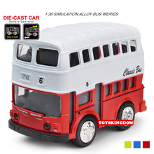 Funny Classic 1:43 scale Lovely Retro Double-decker bus R1 metal model pull back alloy toy with light & sound hot wheel for kids(China)