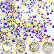 2017 New 120Pcs AB Color SS3 to SS12 Gold Back Sparkly Crystal Shining Glass Rhinestone For Nail Art Decoration BENJ245