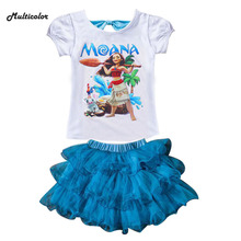 New Summer Custom Kids 2017 Girls Children Dress Clothing Set Elsa T Shirt Cotton Baby Girls For Set Anna Children Girls Clothes