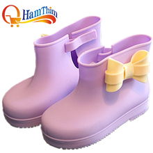 New Boys And Girls Leather Children Rain Boots Cute Slip Baby Shoes Overshoes Water Shoes For Children Rubber Shoes