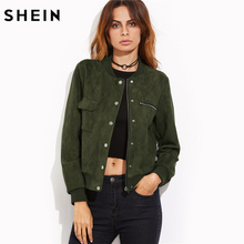 SHEIN Olive Green Suede Hidden Zip Bomber Jacket Fall Winter 2017 Women's Jackets and Coats Stand Collar Single Breasted Jacket(China)