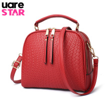 Fashion Knitting Lines Women Crossbody Bags Small Handbags Leather Famous Brand Female Shoulder Bag Two Zipper Pockets